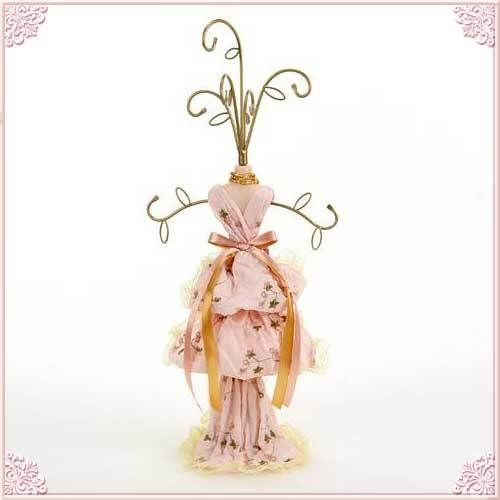セール!ヴィクトリアンドレストルソー型アクセサリースタンドLサイズ カラー:ピンク【薔薇雑貨 アクセサリーケース】