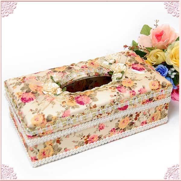 ■モチーフ付きバラ柄ティッシュボックスケース(ハードタイプ)