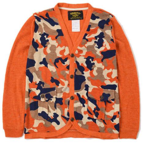 【KRAVITZ】Camouflage Knit Cardigan (ORANGE) クラヴィッツ カモフラージュニットカーディガン オレンジ