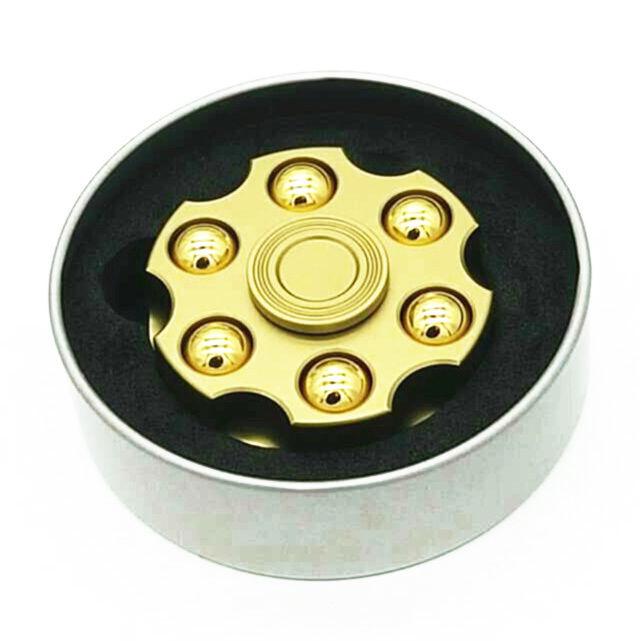 【送料無料】【レア】リボルバーシリンダー型-ハンドスピナー《Color: ゴールド》 高性能ー安定軸