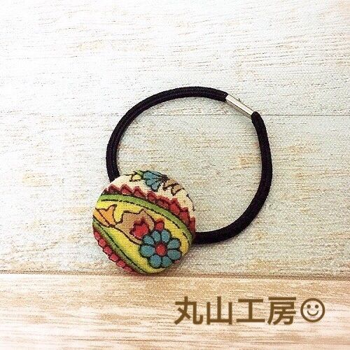 丸山工房 アジアン柄 くるみボタンのヘアゴム 小(35mm)【柄A】
