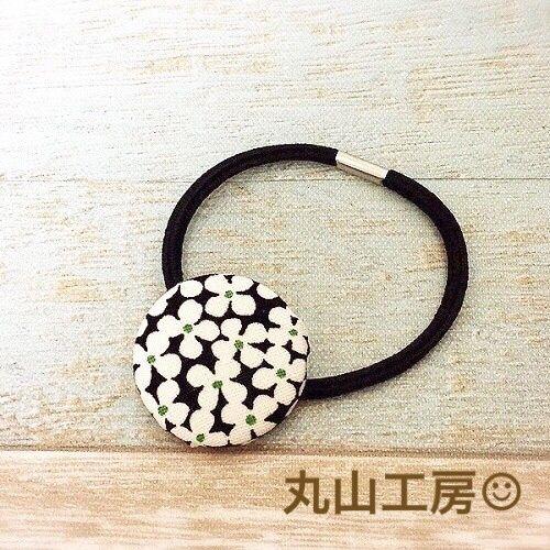 丸山工房 北欧柄 くるみボタンのヘアゴム 小(35mm)【サークルブーケ】