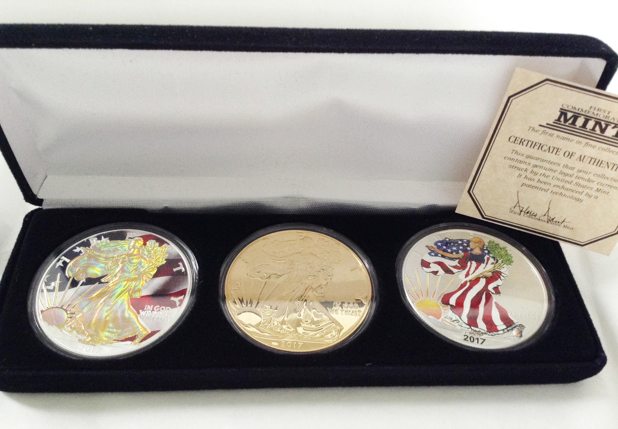 希少 アメリカン イーグル銀貨 ゴールドホログラム&両面ゴールドコーティング&カラライズ コイン 3種セット シルバーコイン 2017年