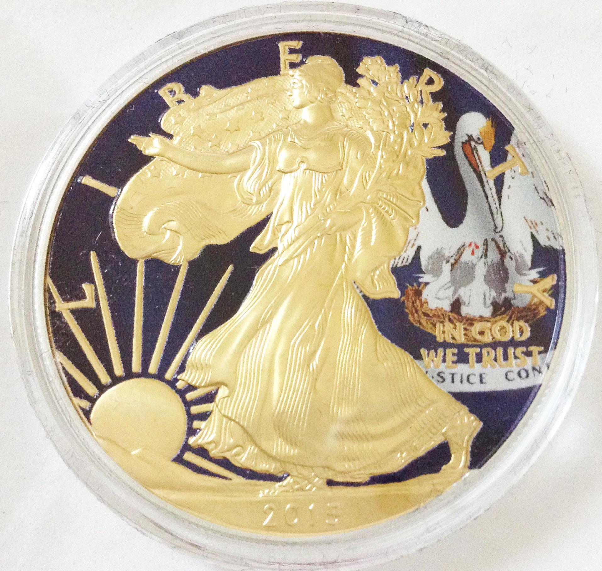 国内発送 即決 世界限定200個 シルバーイーグル銀貨 州旗バージョン ルイジアナ州 ボックス付 コレクター シリアルナンバー 24金ゴールド