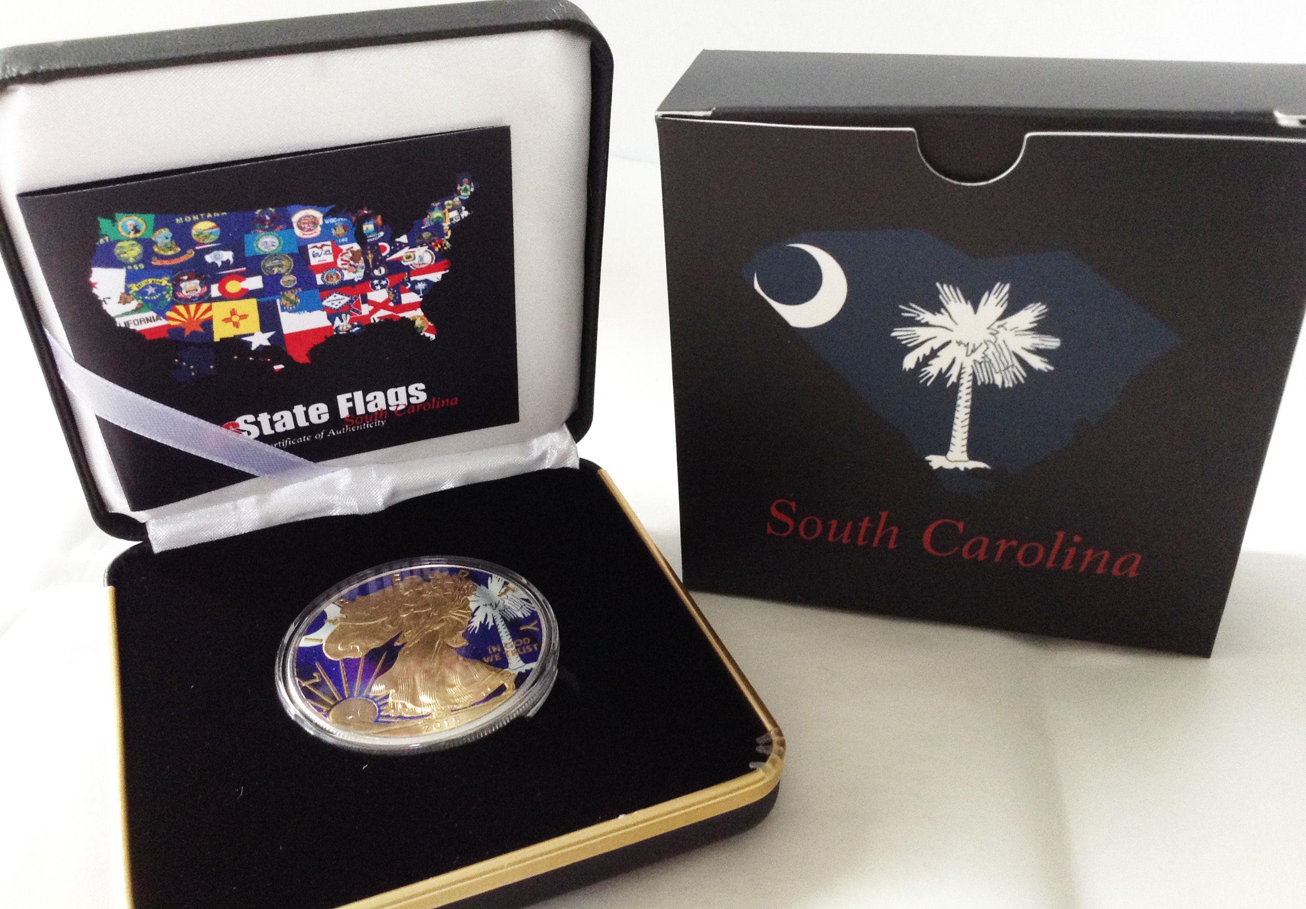 世界限定200個!シルバーイーグル銀貨 州旗バージョン サウスカロライナ州 South Carolina ボックス付き