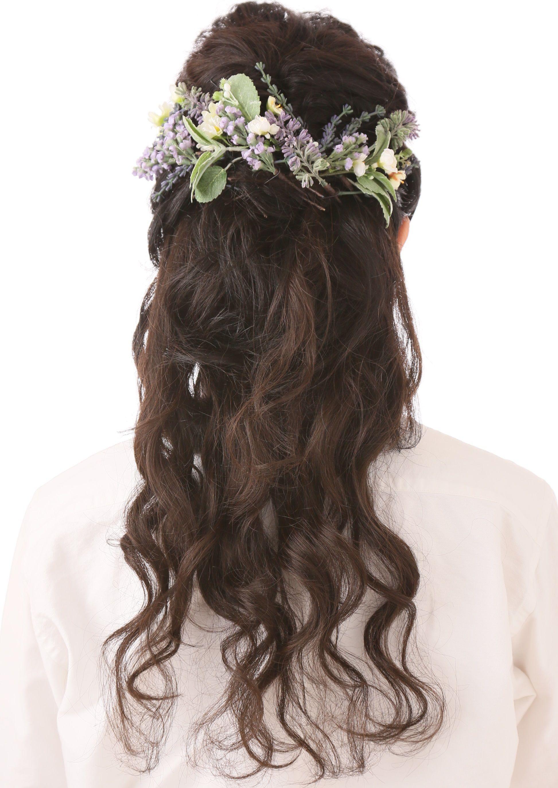 爽やかな風を感じるラベンダーとグリーン&小花のヘッドドレス~English garden~