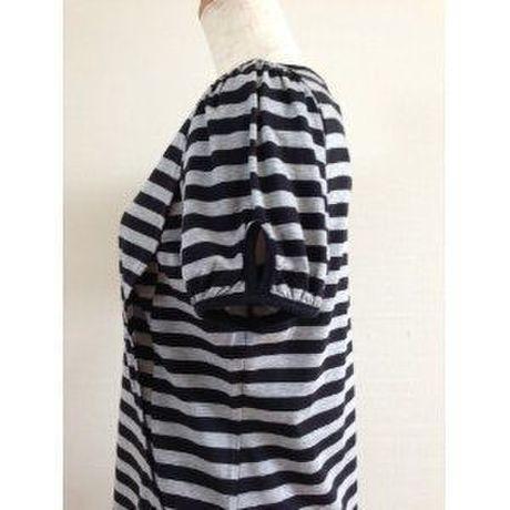 授乳機能付き ボーダーワンピース〔出産後用授乳服〕日本製3-003杢グレー×黒