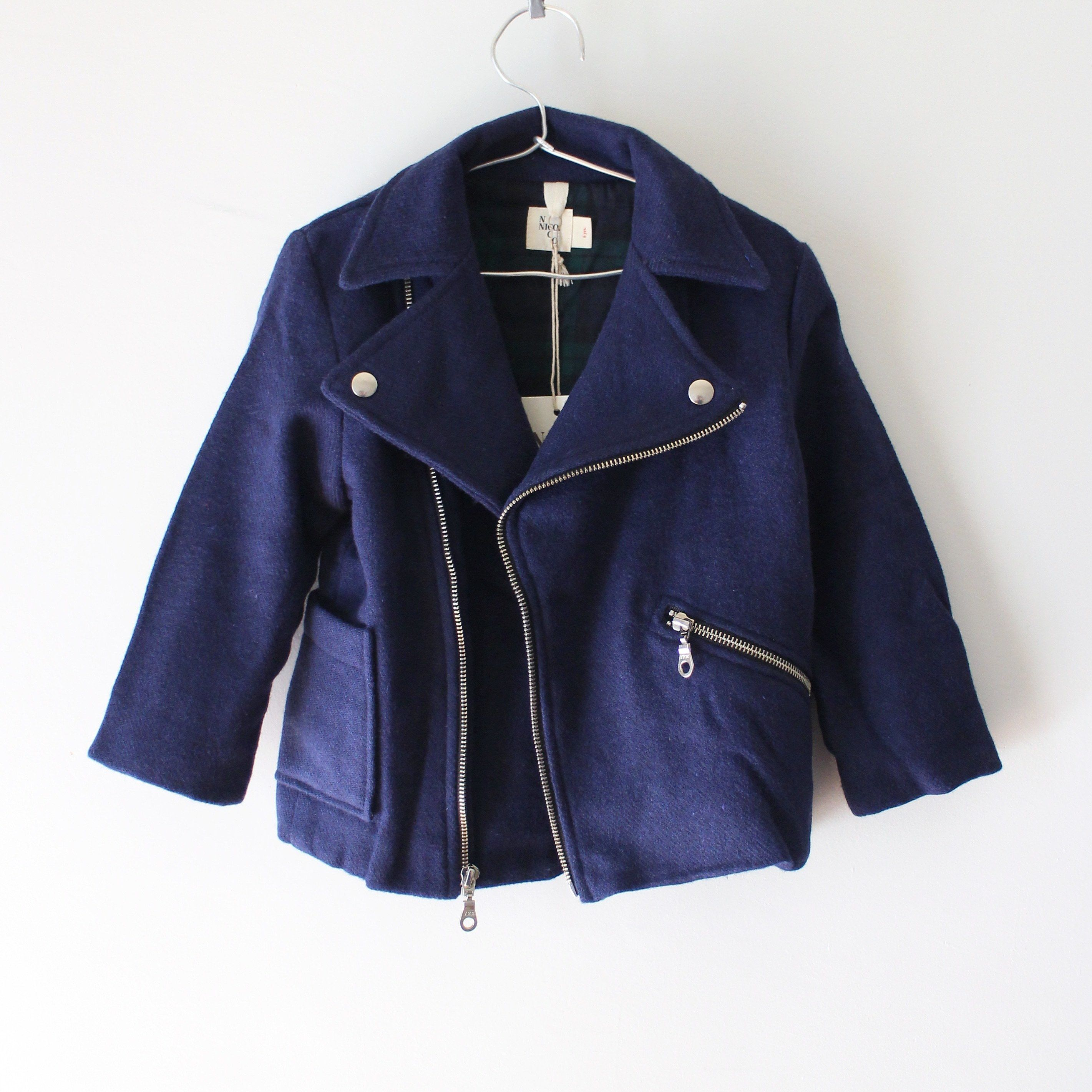 Kids melton riders jacket / royal blue