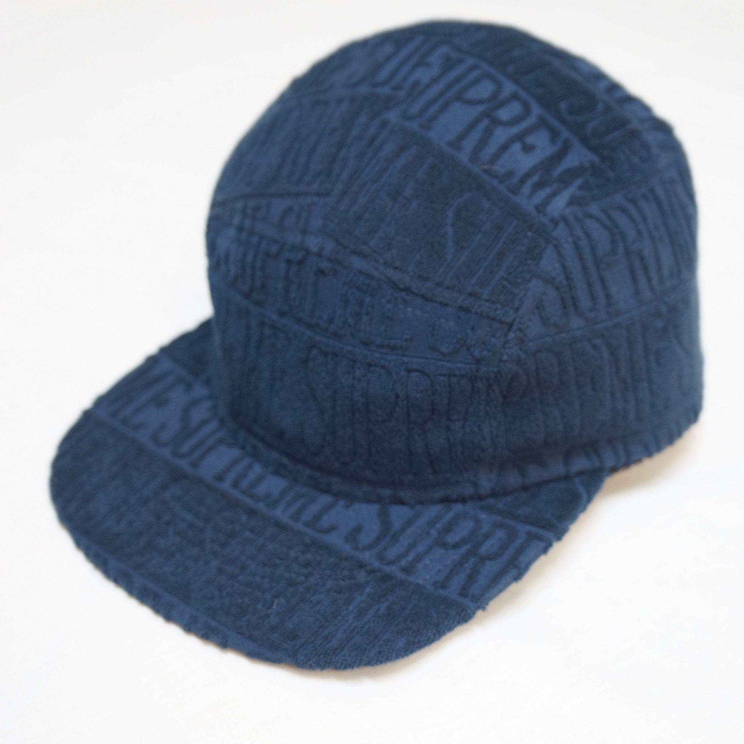 SUPREME CAP Navy Text Stripe Terry