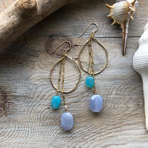 Sea blue & Natural blue Chalcedony Double Hoop 14kgf Pierced Earring シーブルー&ナチュラルブルー カルセドニー 14kgfピアス
