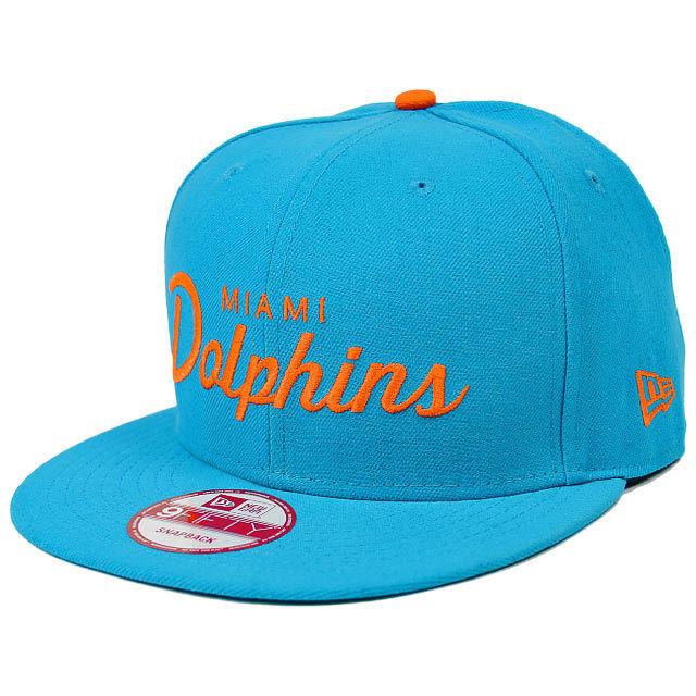 SNAP292 NEWERAニューエラ オールドスクリプト ロゴ 9FIFTY スナップバックキャップ DOLPHINS(NFL) ドルフィンズ ブルー/オレンジ