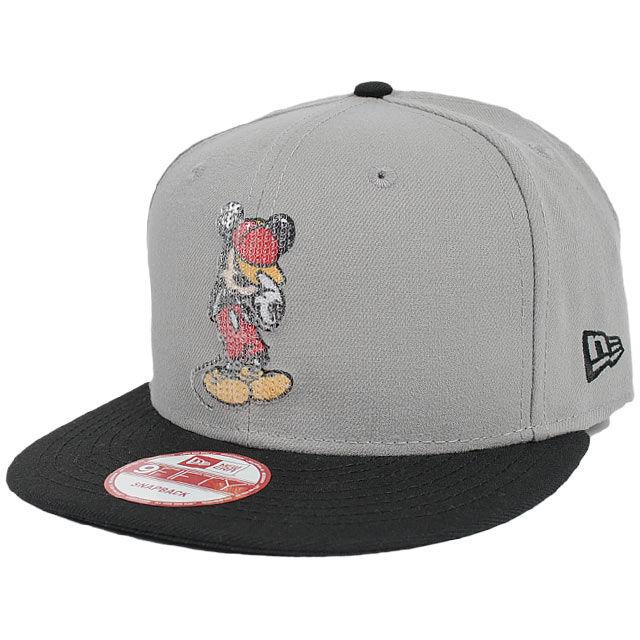 DIS76 NEWERA × DISNEY ニューエラ × ディズニー ミッキーマウス スパンコール 9フィフティー スナップバックキャップ グレー/ブラック