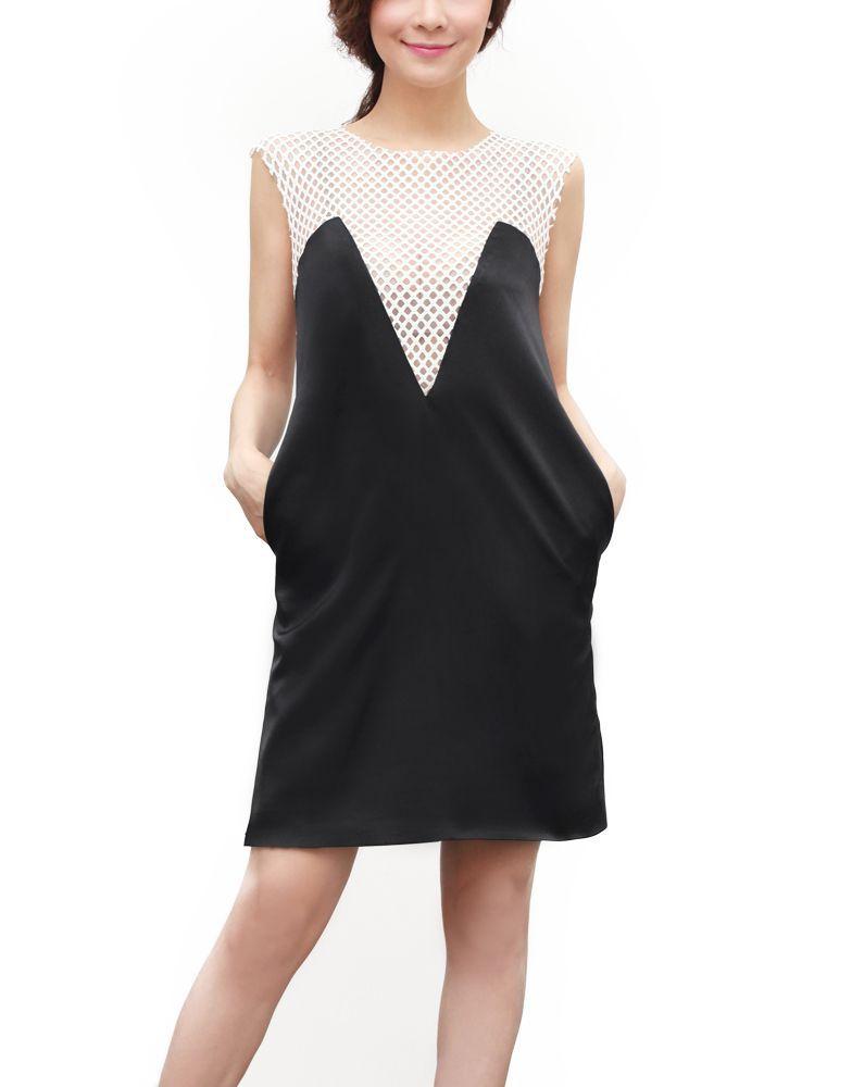 【Carnet de Mode】レディース フィッシュネット ドレス ブラック
