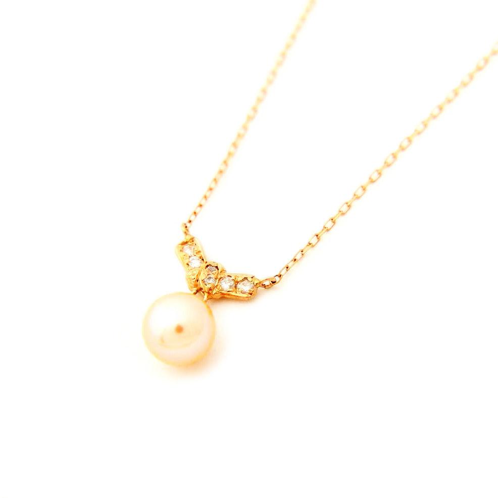 K10/【MUSUBI MON / 結び文】ダイヤ・淡水パールネックレス(N10070P-pearl)