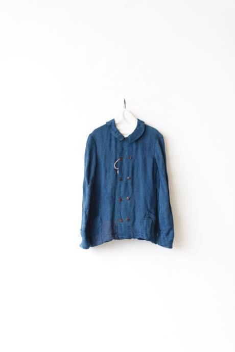 Aski Kataski アスキカタスキ /Indigo Linen Work-Jacket / ak-16004