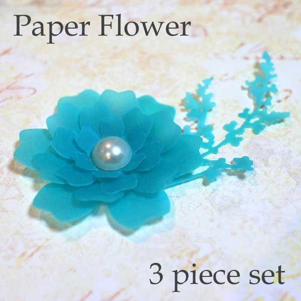 いろなところに花かざり*ペーパーフラワー3個入り 半透明ブルー