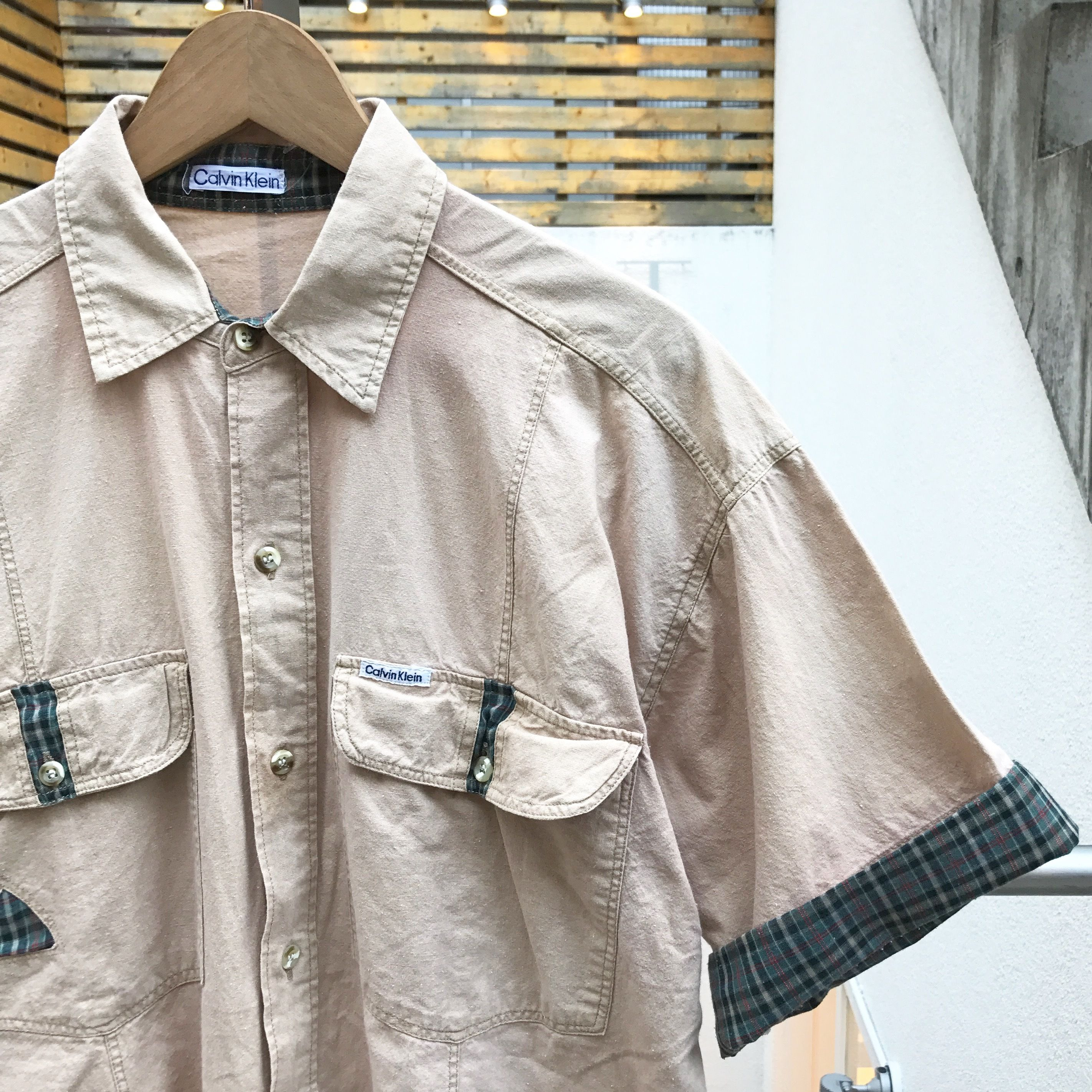 CalvinKlein/カルバンクライン 切り替え 半袖シャツ 90年前後 (USED)