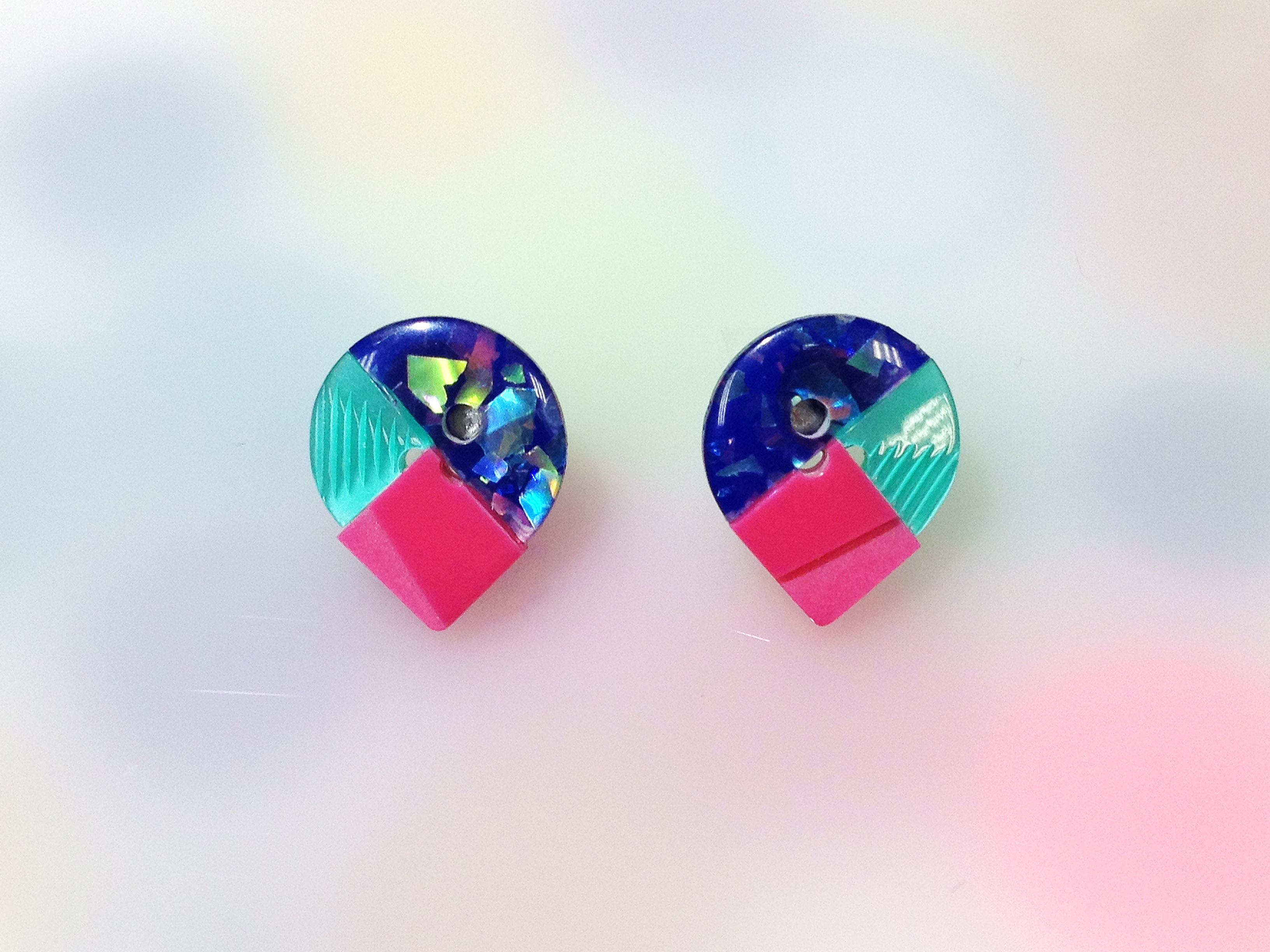 Button pierced earrings ボタンピアス/3トーン・ブルーラメ×ターコイズ×ピンク
