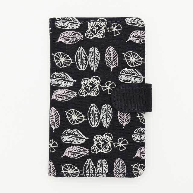 北欧刺繍 スマホケース モリノヒ(綿麻・紺)