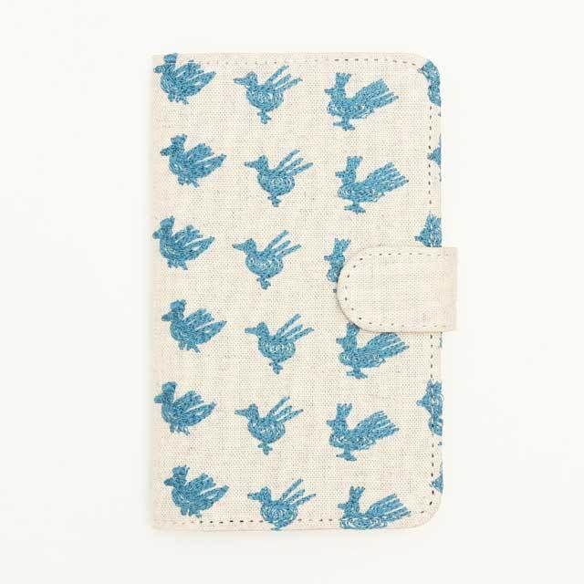北欧刺繍 スマホケース トリサンポ(綿麻・生成)