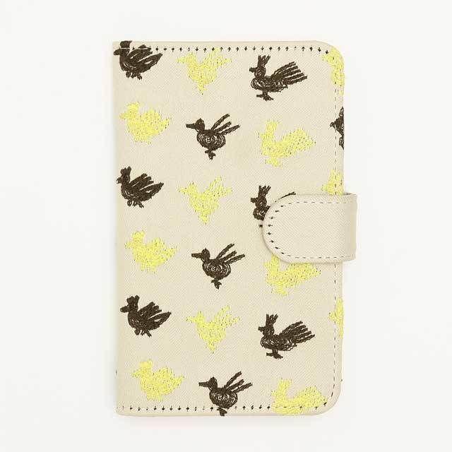 北欧刺繍 スマホケース トリサンポ(ベージュ)