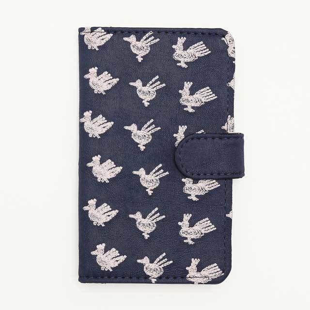 北欧刺繍 スマホケース トリサンポ(紺)