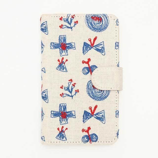 北欧刺繍 スマホケース サクトブ(綿麻・ベージュ)