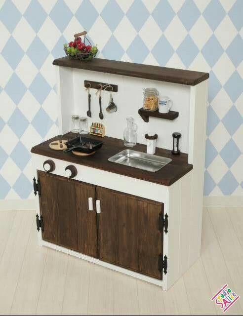 《シンク丸型に変更可》゜♪*オシャレな木製おままごとキッチン。゜*