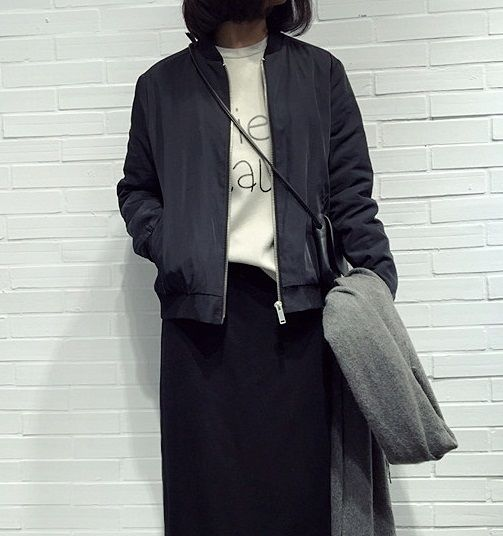 海外インポートセレクトブラックブルゾンジャケットコートMA-1黒色