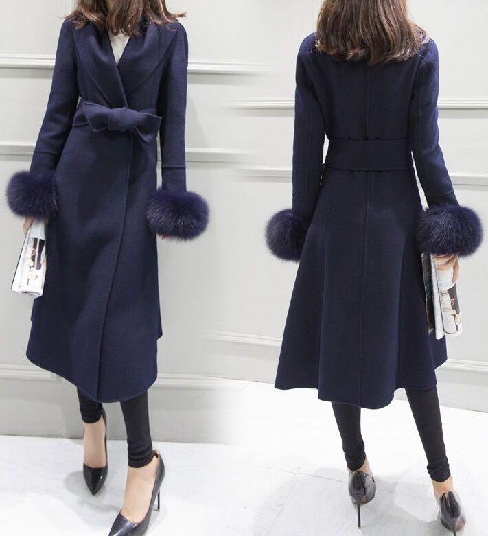 海外 インポート ネイビー ウール 混 裾 ファー 腰ひも 付き フレアー ドレス コート
