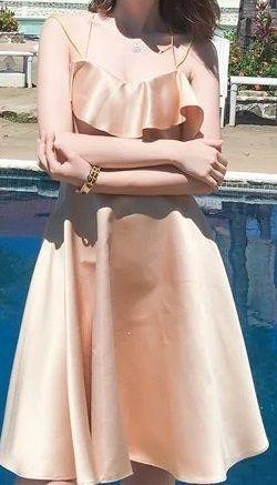 海外 インポート ゴールド ベージュ フリル フレアー キャミソール ワンピース ドレス