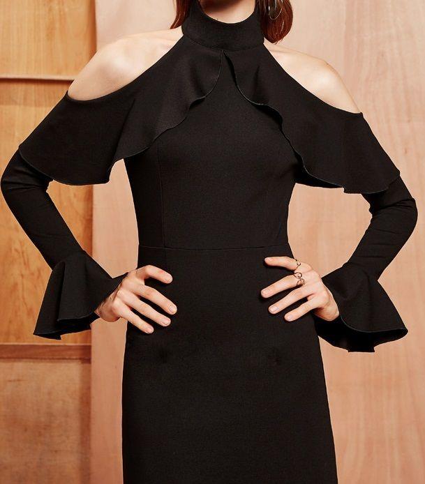 海外 インポート ブラック タートル オープン ショルダー デザイン ワンピース パーティー ドレス