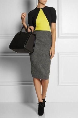 海外インポートセレクトブラック×イエロー×グレーデザイン膝丈タイトコンサバミディー丈ワンピースドレス