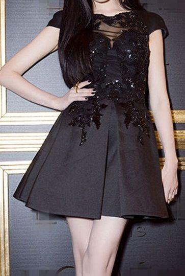 海外 インポート ブラック レース ビーズ スパンコール 刺繍 付 フレア ワンピース ドレス