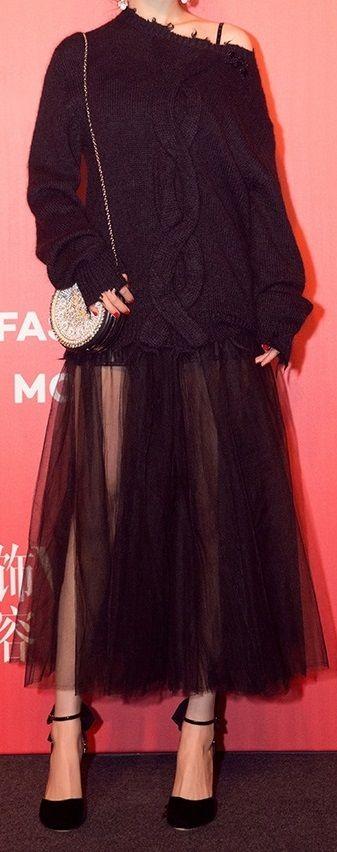 海外 インポート ブラック ざっくり ニット チュール スカート 付 デザイン ワンピース ドレス ロング