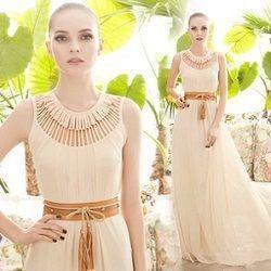 海外インポートホワイトベージュマキシワンピースドレス