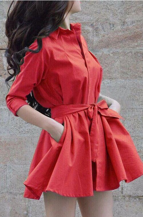海外インポートセレクトレッドフレアーシャツワンピースドレス赤色
