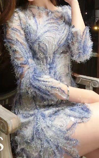 海外 インポート ブルー グレー 刺繍 スパンコール 付 シースルー ワンピース パーティー ドレス