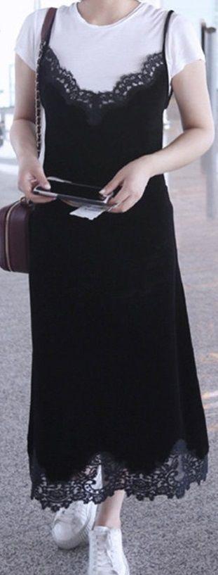 海外 インポート ブラック ベロア ベルベット レース デザイン マキシ ワンピース パーティー ドレス 黒