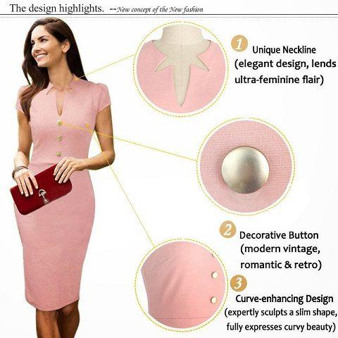 海外インポートセレクトベビーピンクカッティングデザインワンピースドレス膝丈