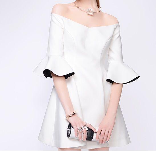 海外インポートセレクトホワイトオフショルダーデザインフリルバイカラーワンピースドレス白色