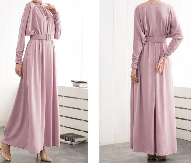 海外 インポート ベビー ピンク ベルト付 デザイン マキシ ワンピース パーティー ドレス ロング