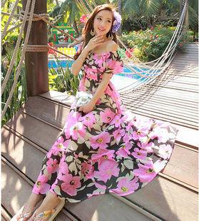 海外インポートブラック×ピンクフラワー柄シフォンマキシワンピースドレス