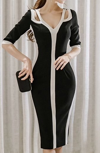 レディース 海外 インポート ブラック ホワイト バイカラー ワンピース パーティー ドレス