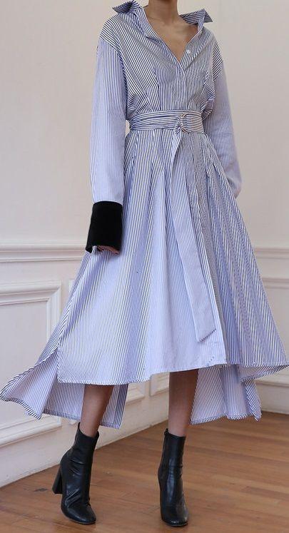 レディース 海外 インポート ストライプ シャツ ベロア デザイン ベルト 付き ミモレ 丈 アシメントリー ワンピース ドレス