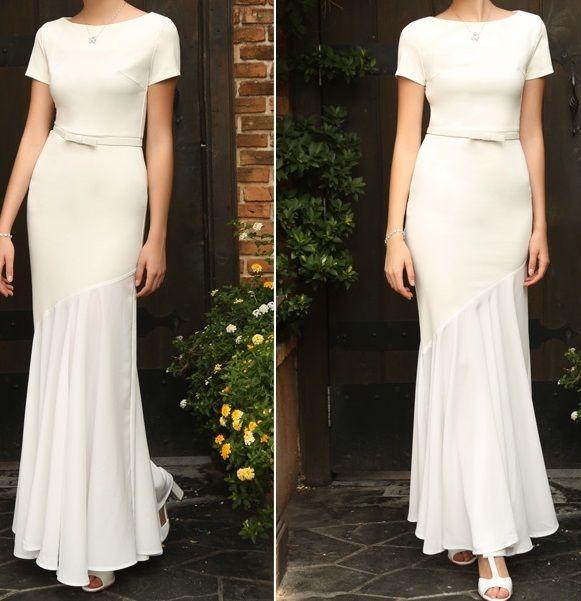 海外 インポート ホワイト ベルト 付 アシメントリー デザイン ワンピース パーティー ドレス ロング 白