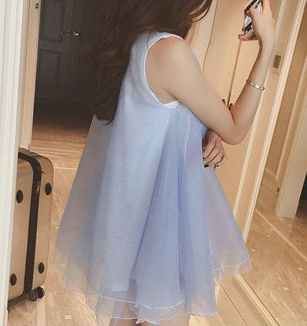 海外インポートセレクト水色オーガンジーチュールミニワンピースドレス
