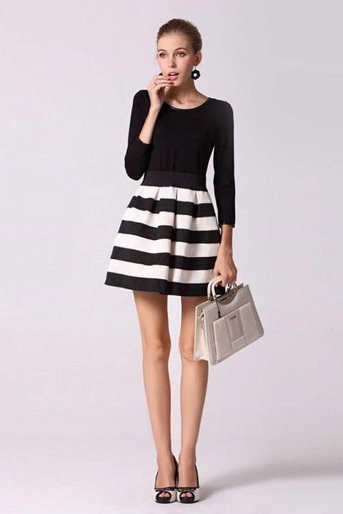 ブラック ホワイト バイカラー ボーダー ワンピース ドレス 黒 白