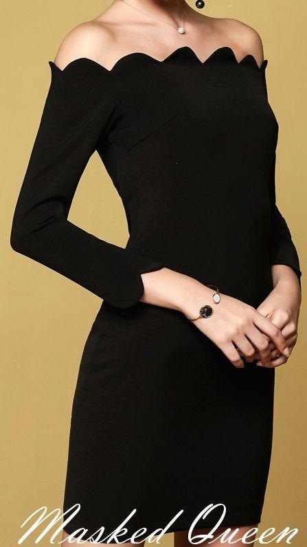 海外 インポート セレクト ブラック オフショルダー デザイン ワンピース パーティー ドレス 黒