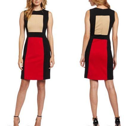 海外インポートセレクトベージュレッドブラックデザインワンピースドレス